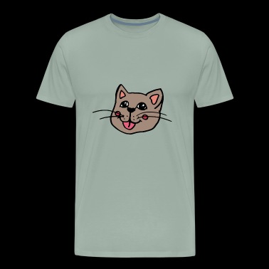 sweet smiling cat face , gift idea for children - Men's Premium T-Shirt