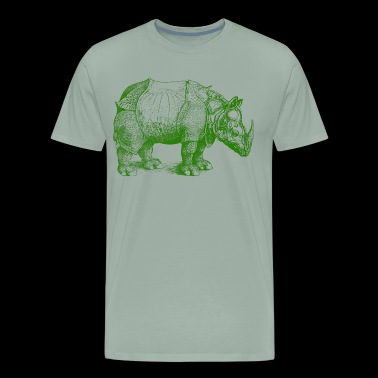 rhinoceros of durer green illustration animal - Men's Premium T-Shirt