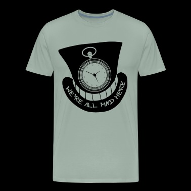 Alice in Wonderland | Cheshire Cat Grin, Rabbit Watch, Mad Hatter's Hat - Men's Premium T-Shirt