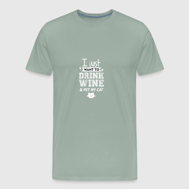 Wine and cat pet - Men's Premium T-Shirt