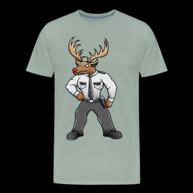Security deer with red nose - Men's Premium T-Shirt