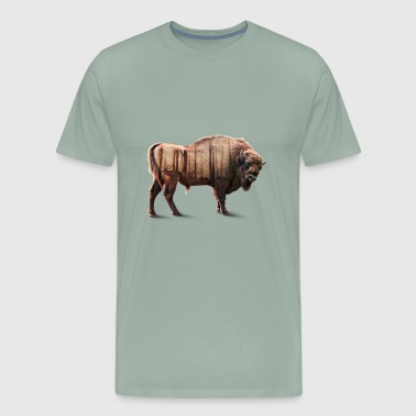 Bisons Forest Double exposure - Men's Premium T-Shirt