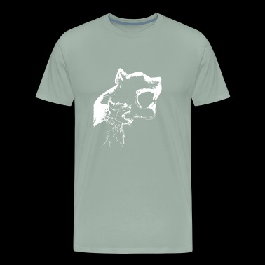 hissing cat with wall shadow , cool gift idea - Men's Premium T-Shirt