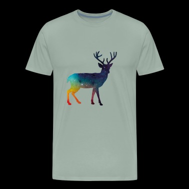 Galaxy deer reindeer moose wild animal antlers - Men's Premium T-Shirt