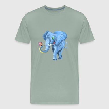 Happy Elephant with Butterfly - Men's Premium T-Shirt