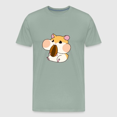 Cute Hamster Blush Eat Food - Men's Premium T-Shirt