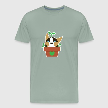 Potted Corgi Plant - Men's Premium T-Shirt