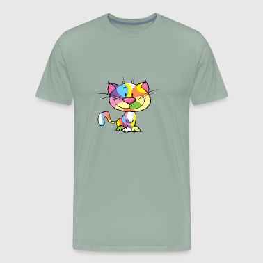Cute Kitty Cartoon Colorful Pop Art Design - Men's Premium T-Shirt