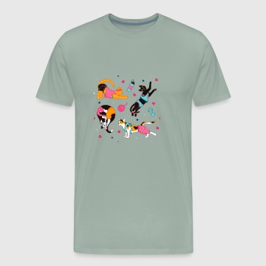cats yoga - Men's Premium T-Shirt