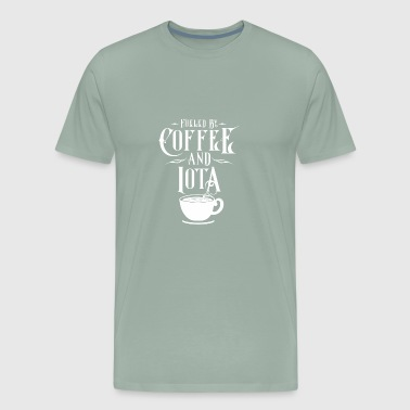 CRYPTO BLOCKCHAIN: COFFEE AND iota - Men's Premium T-Shirt