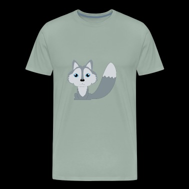 Cute Animal Character Drawing The Wolf - Men's Premium T-Shirt