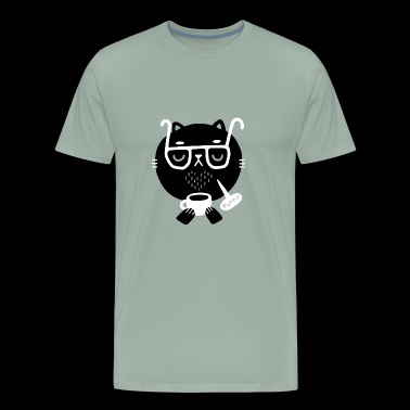Pretty Great Art Style Cat Loves Coffee Creative - Men's Premium T-Shirt