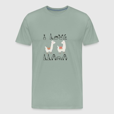 I Love Llama cute animal for llama lovers - Men's Premium T-Shirt