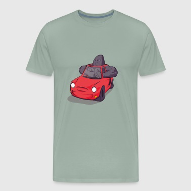 Big gorilla in small car - Men's Premium T-Shirt