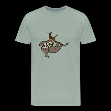 sweet baby sloth hanging on tree, gift idea - Men's Premium T-Shirt