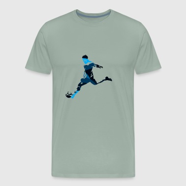 Silhouettes man soccer player sport vector image - Men's Premium T-Shirt