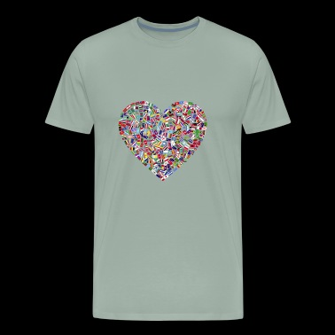 flags of countries assembled to a heart shape - Men's Premium T-Shirt