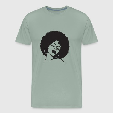 African Woman Afro Black Natural Hair Confident - Men's Premium T-Shirt