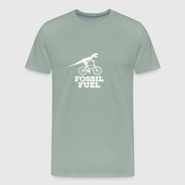 Funny Dinosaur Cyclist T-shirt Fossil Fuels - Men's Premium T-Shirt