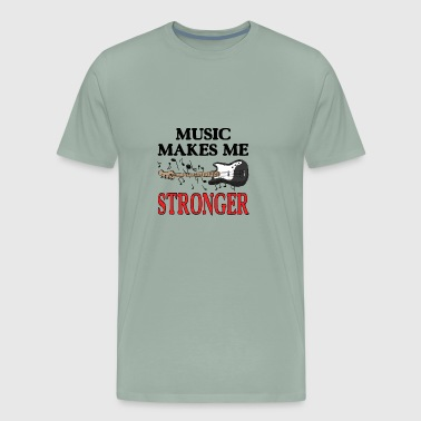 Music makes me stronger t-shirt. Bass guitar art - Men's Premium T-Shirt