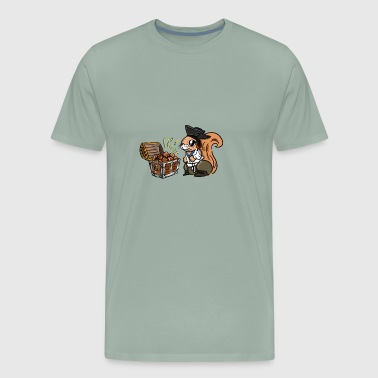 Funny squirrel. Squirrel's Treasure. Chest of nuts - Men's Premium T-Shirt