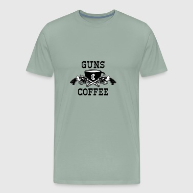 Guns and Coffee Graphic - Men's Premium T-Shirt