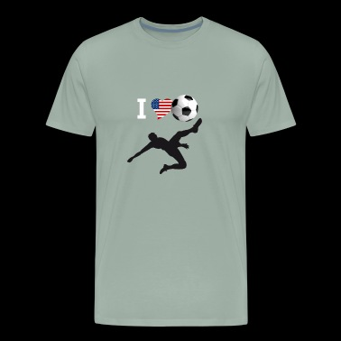 i Love Soccer America Ball goal Club Sport - Men's Premium T-Shirt