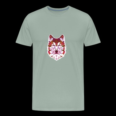 Wolf Geometric Design Color Shapes Forming Animals - Men's Premium T-Shirt