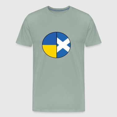 Scottish and Ukrainian Flags Pie Chart - Men's Premium T-Shirt