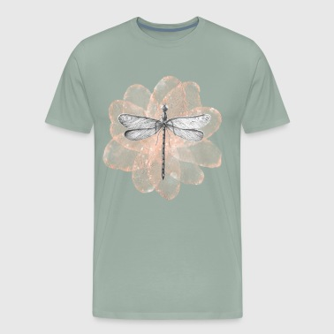Dragonfly with tender pink flower - Men's Premium T-Shirt