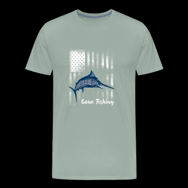 fishing big fish american flag key west marlin rod - Men's Premium T-Shirt