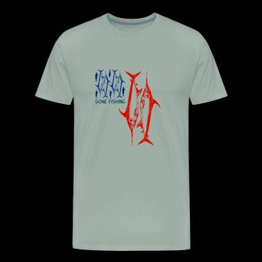 american fish gone fishing fisherman patriotic LOL - Men's Premium T-Shirt