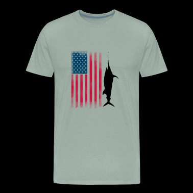fishing fish rod american flag rod bless marlin se - Men's Premium T-Shirt