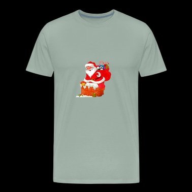 Santa coming down the chimney - Men's Premium T-Shirt