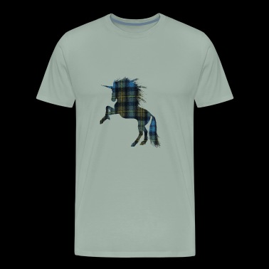 Tartan T-shirt for the Proud Scot Unicorn Plaid Sh - Men's Premium T-Shirt