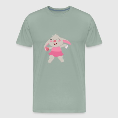 Adorable Girl Easter Bunny Collecting Kids Eggs - Men's Premium T-Shirt