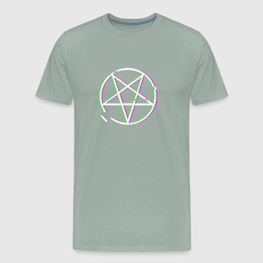 Retro Glitch Satanic Occult Pentagram - Men's Premium T-Shirt