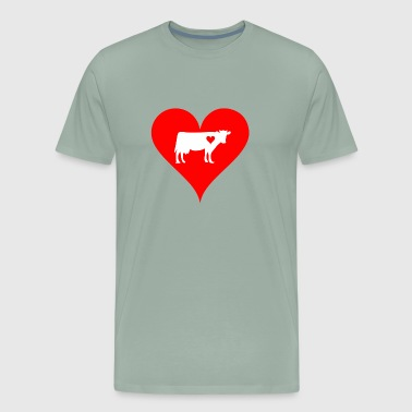 Cow Love Transparent Big Heart Cow Print Design - Men's Premium T-Shirt
