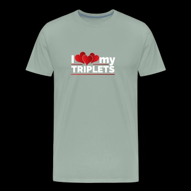 I Double Heart Love my Triplets for Moms and Dads - Men's Premium T-Shirt