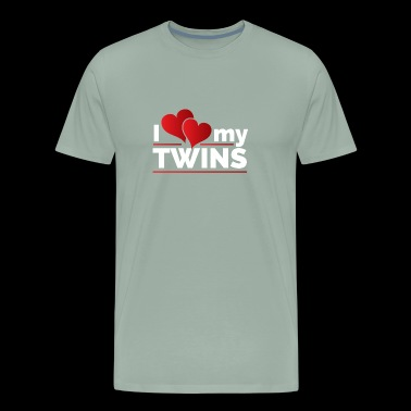 I Double Heart Love my Twins for Moms and Dads - Men's Premium T-Shirt