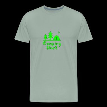Camping Shirt Green Tent Trees - Men's Premium T-Shirt