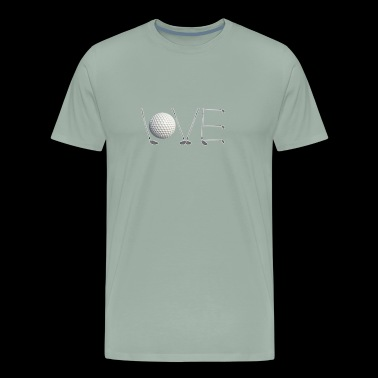 Classic LOVE Golf Design with Golf Clubs Gift - Men's Premium T-Shirt