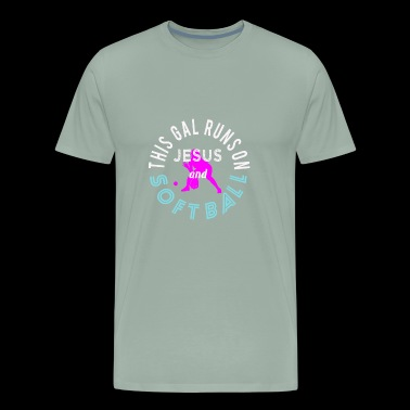 Cute Christian & Church Softball League Design This Gal Runs On Jesus and Softball - Men's Premium T-Shirt