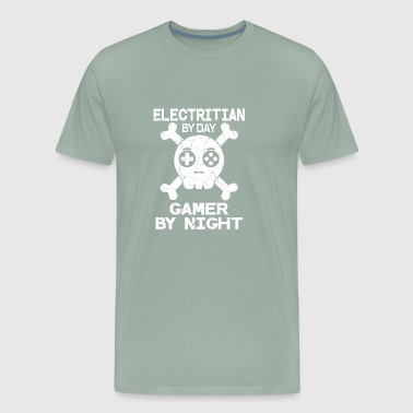 Electritian By Day Gamer By Night Gift - Men's Premium T-Shirt