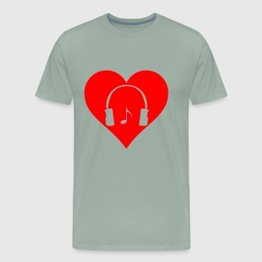 Heart Love Headphone Over Ears Music Note Gifts - Men's Premium T-Shirt