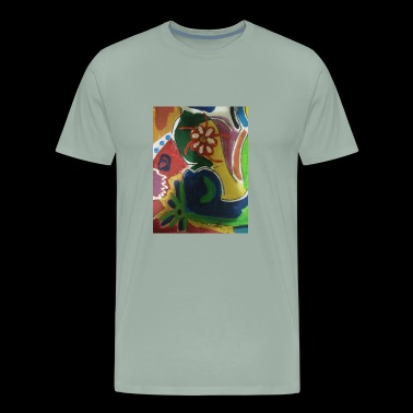 Abstract tropical flower painting - Men's Premium T-Shirt