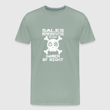Sales Rep By Day Gamer By Night Gift - Men's Premium T-Shirt