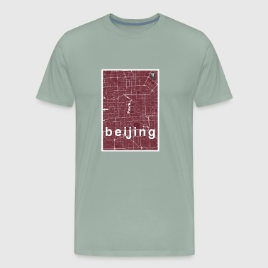Beijing hipster city map red - Men's Premium T-Shirt