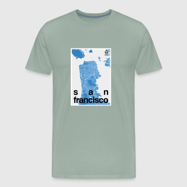 San Francisco hipster city map blue - Men's Premium T-Shirt