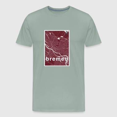 Bremen hipster city map red - Men's Premium T-Shirt
